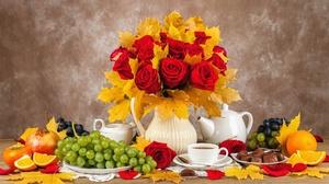Fall Leaf Chocolate Rose Grapes Red Flower Vase Flower Fruit Pitcher 2400x1493 Wallpaper