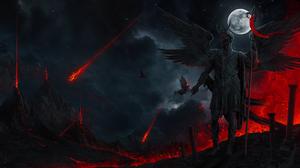 Photoshop Digital Art Dark Glowing Night Fire Wings Moon Meteorite Asteroid Volcano Armor Lava Birds 1400x800 Wallpaper