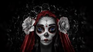 Blue Eyes Face Girl Sugar Skull 1920x1080 Wallpaper