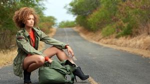 Women Model Road Asphalt Heels Black Heels Brunette Women Outdoors Curly Hair Legs 2560x1639 Wallpaper