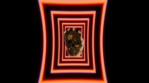 Skull Skull Face Neon Red Black Gold 3840x2160 Wallpaper