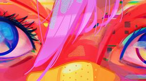 Digital Art Ultrawide Eyes Hearts Hair Patch Blue Eyes Pink Hair Glitch Art Women 5120x1440 wallpaper
