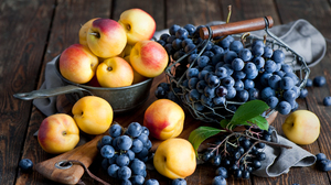 Still Life Food Fruit Berries Colorful Blueberries Cutting Board Wood Table Baskets Peaches 2000x1331 Wallpaper