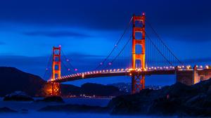 Golden Gate Bridge Bridge Landscape San Francisco USA Sky Hills City Lights Sunrise Architecture Sus 3840x2160 Wallpaper