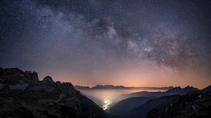 Horizon Landscape Mountain Night Sky Starry Sky Stars 1920x1080 wallpaper