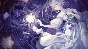 Book Dress White Hair Long Hair Purple Eyes 2000x1414 wallpaper
