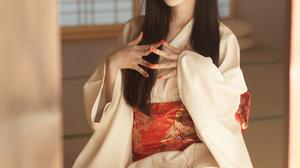 Asian Long Hair Black Hair Kimono Tatami Living Rooms Women Shika XiaoLu 2688x4032 wallpaper