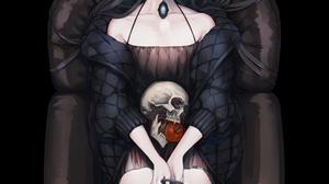 Anime Anime Girls Skull Original Characters Vampire Anime Apples Black Hair Dark Hair Long Hair Higu 2500x2500 Wallpaper