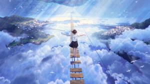Sky Clouds Landscape Bridge Anime Girls School Uniform Short Hair Brunette Mocha 1310x873 Wallpaper