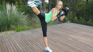 Stacy Keibler Legs Gym Clothes Kick Gloves Kickboxing 1920x1080 Wallpaper