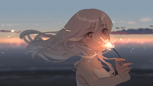 Anime Anime Girls Blonde Long Hair Sunset Clouds Sky Beach Red Eyes Sparklers Looking At Viewer 1920x1080 Wallpaper