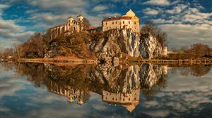 Landscape Nature Abbey Poland Reflection Clouds Lake Rocks Building Fall 1400x933 Wallpaper