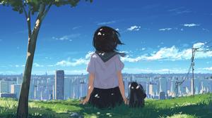 Anime Girls Schoolgirl Original Characters Cityscape Arttssam 1920x1080 wallpaper