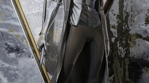 Saasiu Women Artwork Sword Weapon Girls With Swords ArtStation Standing Boots Gray Hair 1920x3413 Wallpaper