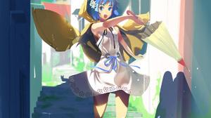 Vofan Anime Anime Girls Blue Hair Blue Eyes Raincoat Umbrella Dress 1200x1666 Wallpaper
