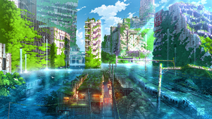 Cityscape Ruins Digital Art City Clouds Water Fish Train Stairs Trees 2000x1120 Wallpaper