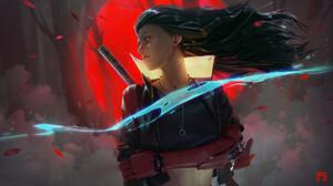 Chin Fong Digital Art Katana Cyborg Cyberpunk Hair Blowing In The Wind Black Hair Long Hair 2D Red M 1920x1080 Wallpaper