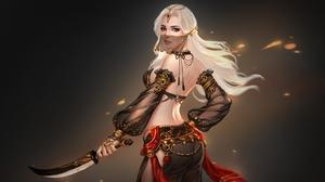 Dagger Girl White Hair Woman 2560x1716 Wallpaper