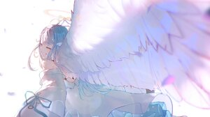 Virtual Youtuber Amatsuka Uto Anime Girl With Wings Anime Girls Angel Wings Wings Nimbus Closed Eyes 1920x1080 Wallpaper