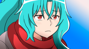 Anime Anime Girls Tsuki Ga Michibiku Isekai Douchuu Aqua Hair Sad Face Red Eyes 4096x2160 wallpaper