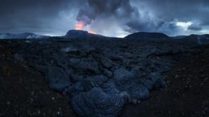 Iceland Dark Nature Landscape Volcano Volcanic Eruption 2048x1152 Wallpaper