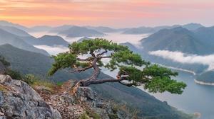 Landscape Mountain Nature Fog River South Korea 2400x1270 Wallpaper