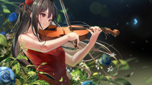 Black Hair Flower Girl Red Dress Red Eyes Violin 2200x1377 Wallpaper