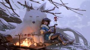 Girl Winter 2000x1104 Wallpaper