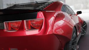 Pavel Golubev Car Vehicle Backlight Digital Art Red Cars Artwork Camaro Camaro ZL1 2560x1440 wallpaper