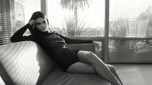 Kendall Jenner Women Model Dark Hair Long Hair Fashion Legs Monochrome 2200x1468 wallpaper