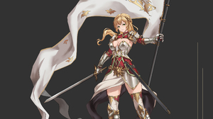 Banner Blonde Green Eyes Joan Of Arc Sword Woman Warrior 2270x1277 Wallpaper