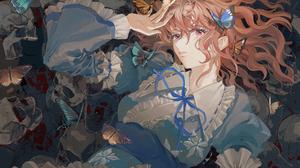 Anime Anime Girls Touhou Saigyouji Yuyuko Brunette Red Eyes Japanese Clothes Butterfly Bones Dress 3508x2480 Wallpaper