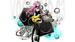 Megurine Luka Vocaloid Speakers Guitar Pink Hair Long Hair Anime Girls 1920x1200 Wallpaper