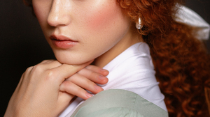Nastasya Parshina Women Redhead Long Hair Blush Looking At Viewer Portrait Simple Background 853x1280 Wallpaper