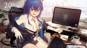 Anime Anime Girls Kuroduki Chen Arknights Arknights Horns Tail Blushing Red Eyes Blue Hair Glasses C 6000x3590 Wallpaper