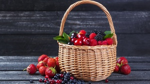 Basket Berry Blueberry Fruit Raspberry Strawberry 5490x3629 wallpaper