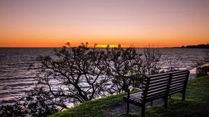 Bench Nature Ocean Sunset 2560x1555 wallpaper