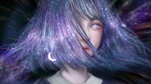 Digital Art Stars Women Universe Space Shoulder Length Hair Short Hair Moon Milky Way 1599x1023 Wallpaper