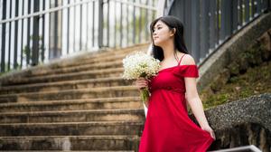Asian Black Hair Depth Of Field Girl Model Red Dress Woman 3840x2561 wallpaper