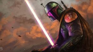 Boba Fett Bounty Hunter Lightsaber Star Wars Warrior 1920x1017 Wallpaper
