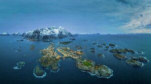 Lofoten Islands Norway Aerial View Sea Island Soccer Pitches Henningsvaer 1920x1080 Wallpaper