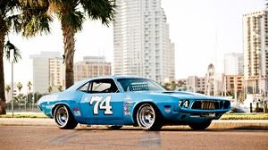 Blue Car Dodge Challenger Muscle Car Race Car 7500x5000 Wallpaper