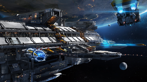 Planet Space Space Station Spaceship 2359x1080 Wallpaper