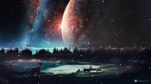 Artwork Fantasy Art Digital Art Deer Planet Snow Stars Space Sky Desktopography Elk Horns Forest 2560x1440 Wallpaper