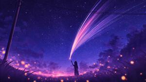 Elizabeth Miloecute Digital Art Starry Night Shooting Stars Utility Pole Sunset 1920x1108 wallpaper