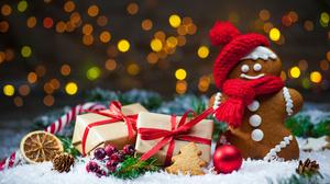Bokeh Christmas Cookie Gift Gingerbread 6048x4032 Wallpaper