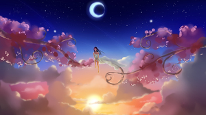 Moon Girl Starry Sky Sunset 4000x2501 Wallpaper