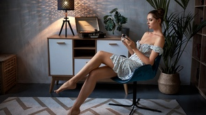 Women Sitting Lamp Camera Chair Women Indoors Hairbun Dress Plants Bare Shoulders Record Players Wal 2560x1709 Wallpaper