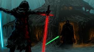 Kylo Ren Lightsaber Luke Skywalker Star Wars 2100x900 Wallpaper