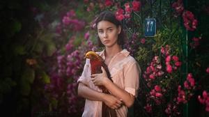 Girl Flower Bird Pheasant 2222x1250 Wallpaper